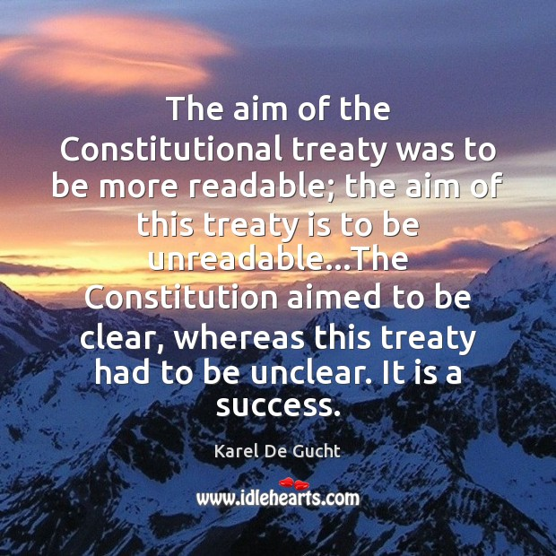The aim of the Constitutional treaty was to be more readable; the Image
