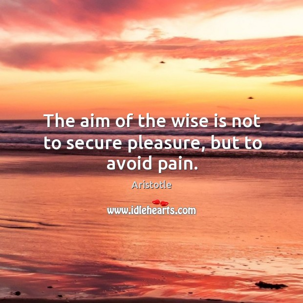 Image, The aim of the wise is not to secure pleasure, but to avoid pain.