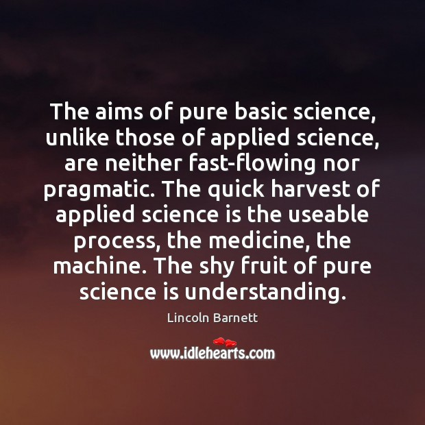 Image, The aims of pure basic science, unlike those of applied science, are