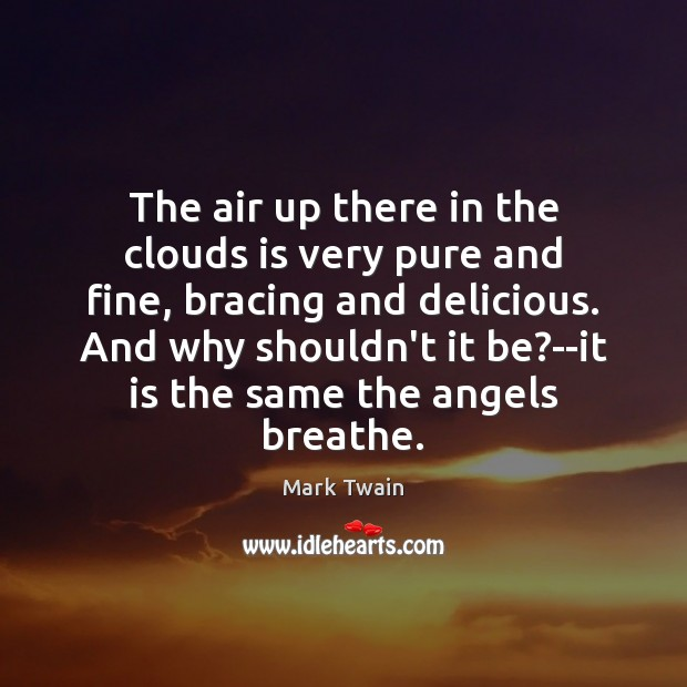 The air up there in the clouds is very pure and fine, Mark Twain Picture Quote