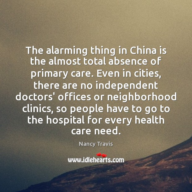 The alarming thing in China is the almost total absence of primary Image