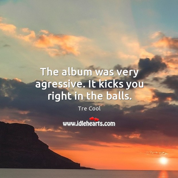 The album was very agressive. It kicks you right in the balls. Tre Cool Picture Quote