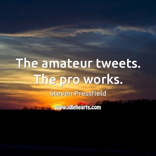 The amateur tweets. The pro works. Image
