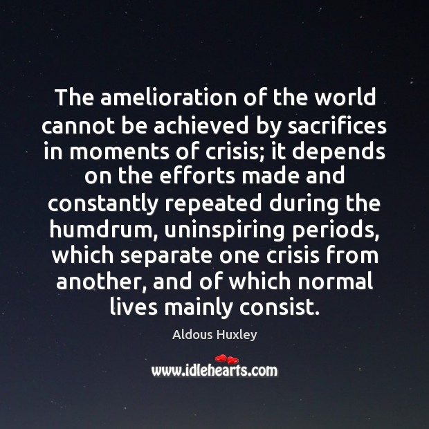 The amelioration of the world cannot be achieved by sacrifices in moments Image