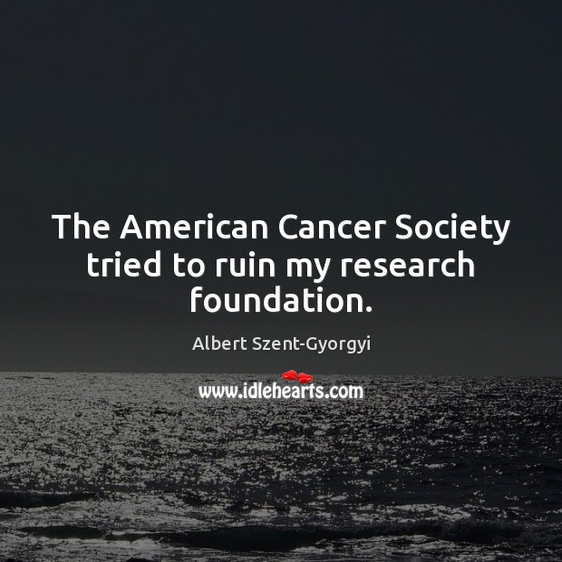 Image, The American Cancer Society tried to ruin my research foundation.