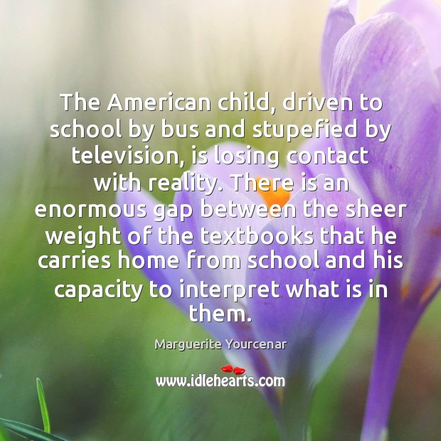 The American child, driven to school by bus and stupefied by television, Marguerite Yourcenar Picture Quote