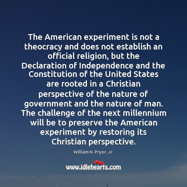 The American experiment is not a theocracy and does not establish an Image