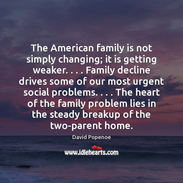 The American family is not simply changing; it is getting weaker. . . . Family Image