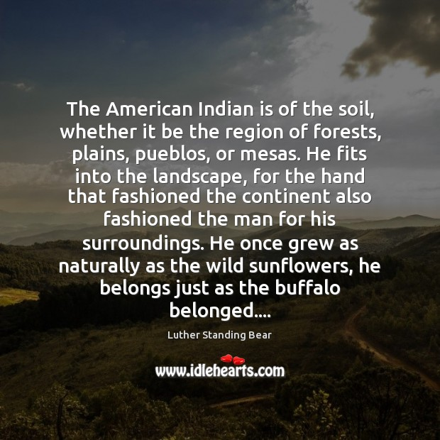 Image, The American Indian is of the soil, whether it be the region