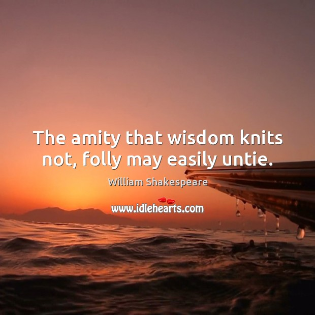 Image, The amity that wisdom knits not, folly may easily untie.