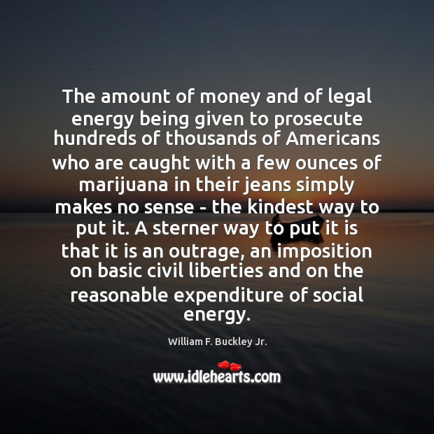 The amount of money and of legal energy being given to prosecute William F. Buckley Jr. Picture Quote