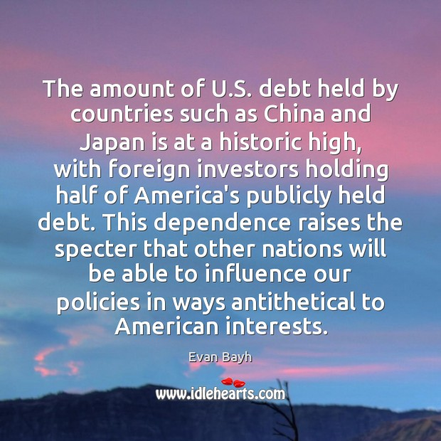 The amount of U.S. debt held by countries such as China Image