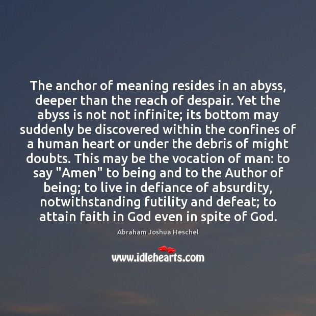 The anchor of meaning resides in an abyss, deeper than the reach Image