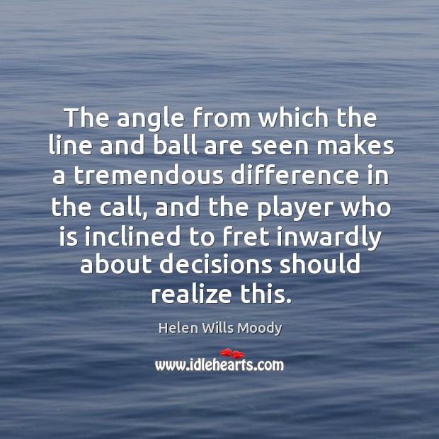 The angle from which the line and ball are seen makes a tremendous difference in the call, and the player Image