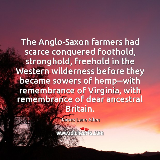 Image, The Anglo-Saxon farmers had scarce conquered foothold, stronghold, freehold in the Western