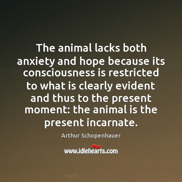 The animal lacks both anxiety and hope because its consciousness is restricted Image