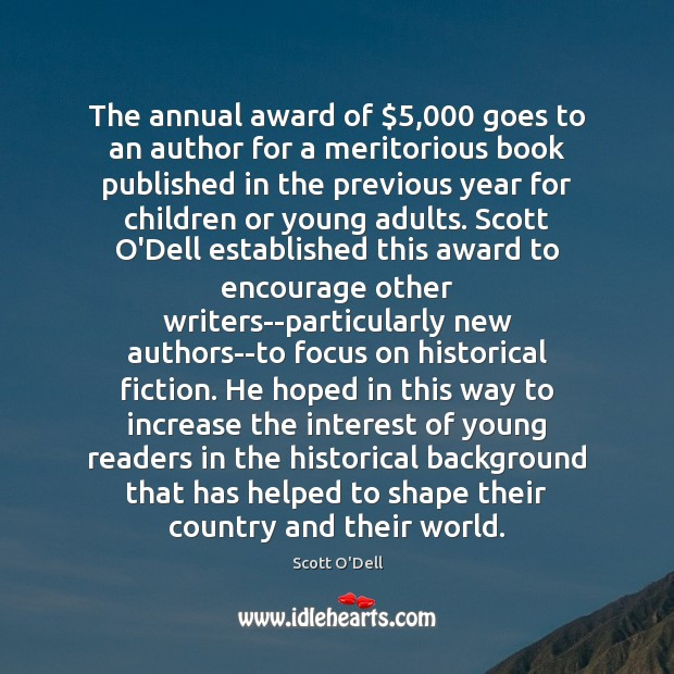 Image, The annual award of $5,000 goes to an author for a meritorious book