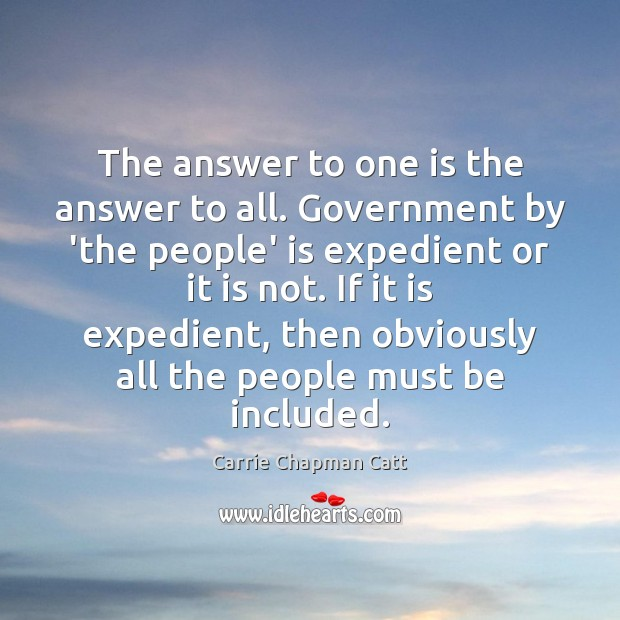 The answer to one is the answer to all. Government by 'the Image