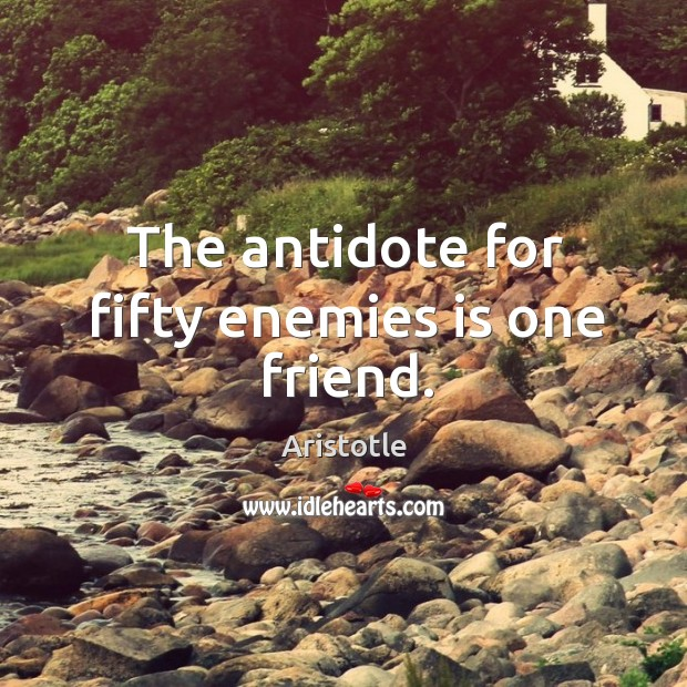Image, The antidote for fifty enemies is one friend.