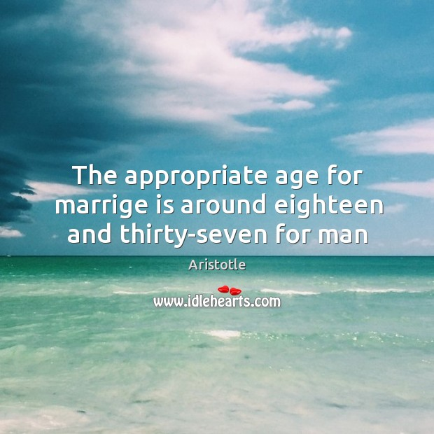 Image, The appropriate age for marrige is around eighteen and thirty-seven for man