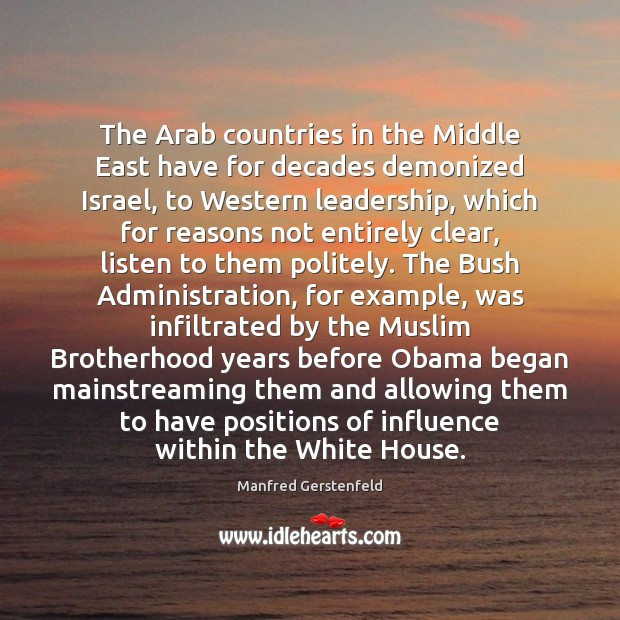 Image, The Arab countries in the Middle East have for decades demonized Israel,