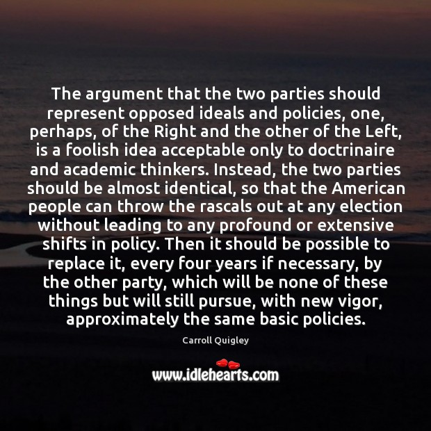 The argument that the two parties should represent opposed ideals and policies, Image
