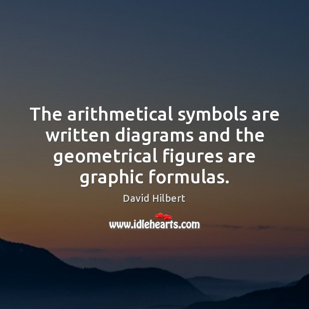The arithmetical symbols are written diagrams and the geometrical figures are graphic David Hilbert Picture Quote