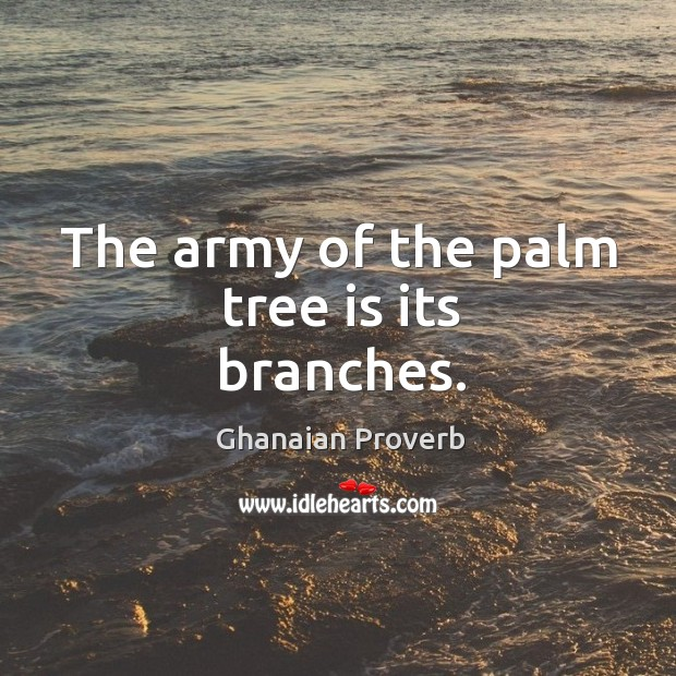 The army of the palm tree is its branches. Ghanaian Proverbs Image