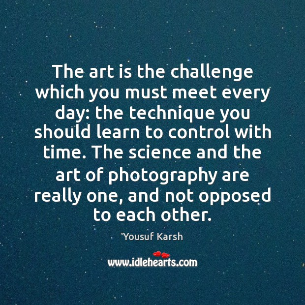 The art is the challenge which you must meet every day: the Challenge Quotes Image
