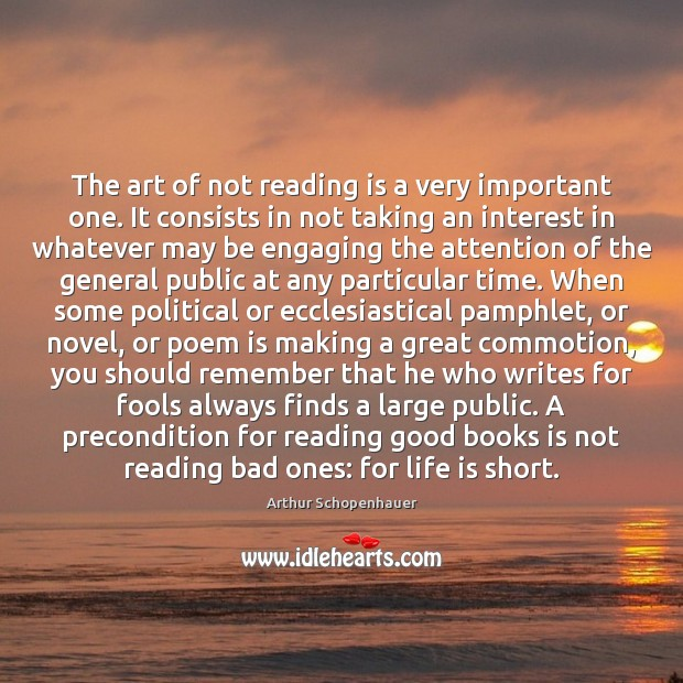 Image, The art of not reading is a very important one. It consists