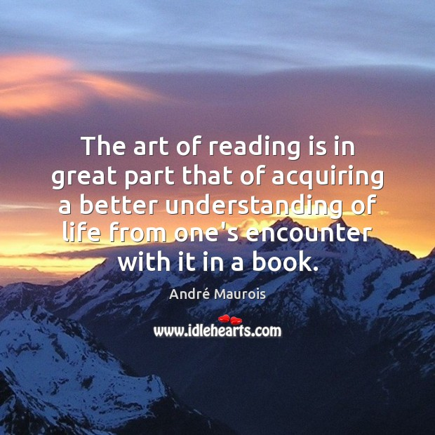 Image, The art of reading is in great part that of acquiring a