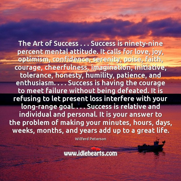 Image, The Art of Success . . . Success is ninety-nine percent mental attitude. It calls