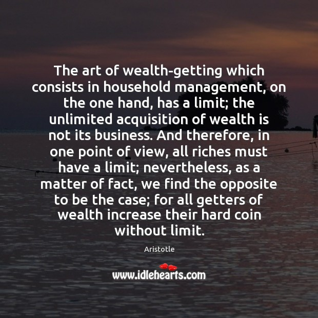 Image, The art of wealth-getting which consists in household management, on the one