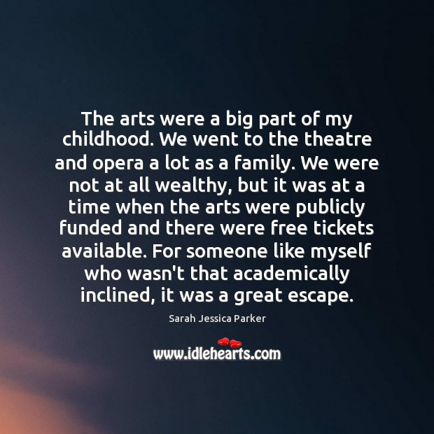 The arts were a big part of my childhood. We went to Image