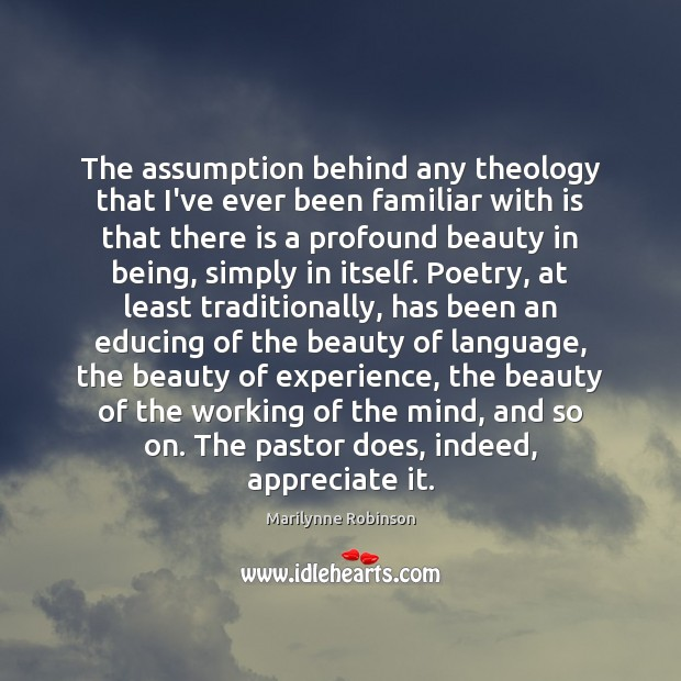 The assumption behind any theology that I've ever been familiar with is Marilynne Robinson Picture Quote