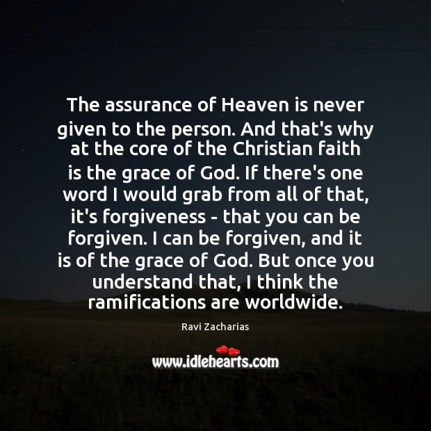Image, The assurance of Heaven is never given to the person. And that's