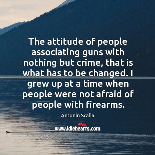 The attitude of people associating guns with nothing but crime, that is Image