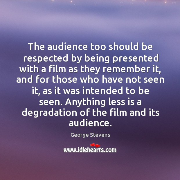 The audience too should be respected by being presented with a film as they remember it Image