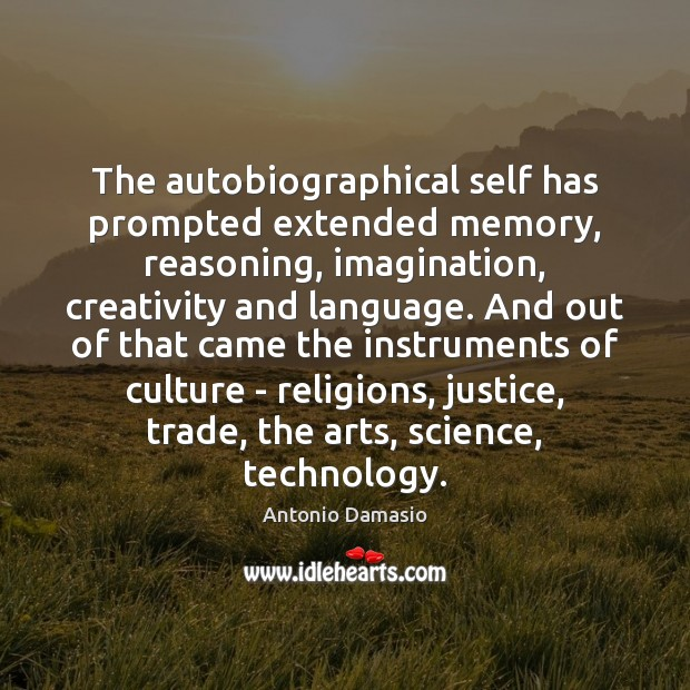 Image, The autobiographical self has prompted extended memory, reasoning, imagination, creativity and language.