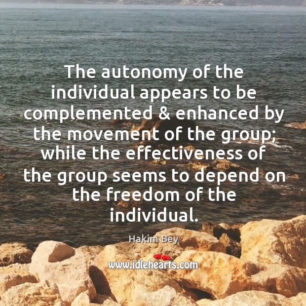 The autonomy of the individual appears to be complemented & enhanced by the Hakim Bey Picture Quote