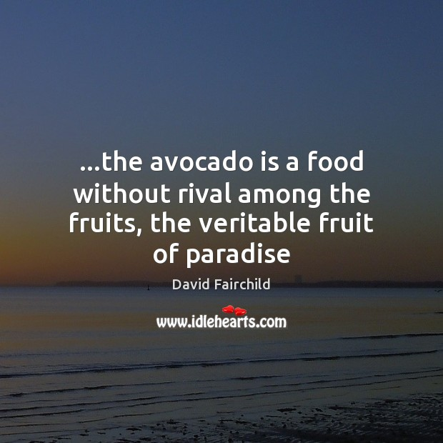 Image, …the avocado is a food without rival among the fruits, the veritable fruit of paradise
