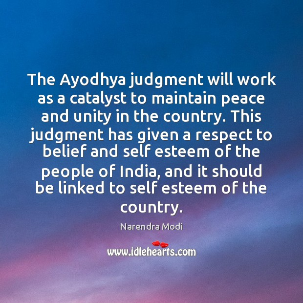 Image, The Ayodhya judgment will work as a catalyst to maintain peace and