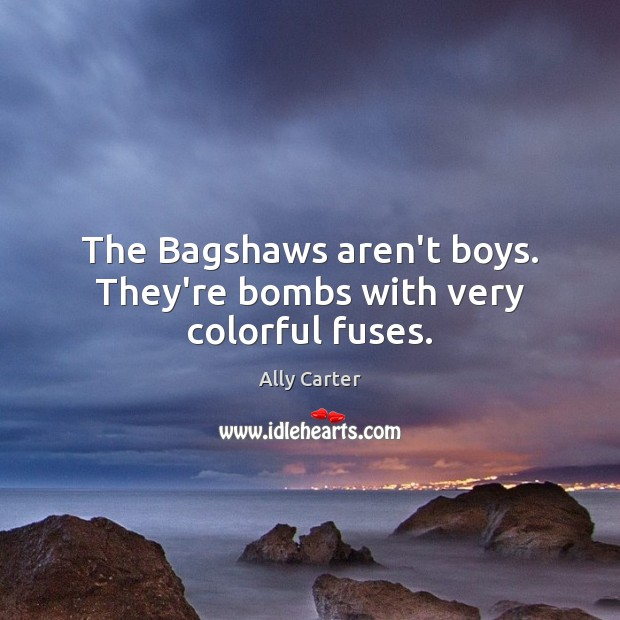 The Bagshaws aren't boys. They're bombs with very colorful fuses. Ally Carter Picture Quote