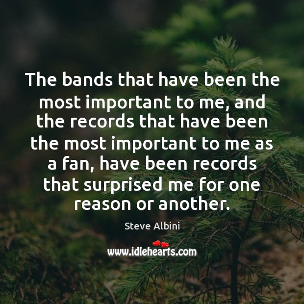 The bands that have been the most important to me, and the Steve Albini Picture Quote