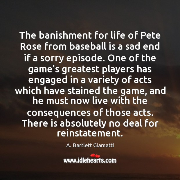 Image, The banishment for life of Pete Rose from baseball is a sad