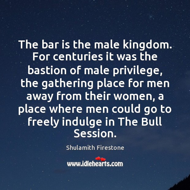 The bar is the male kingdom. For centuries it was the bastion Image