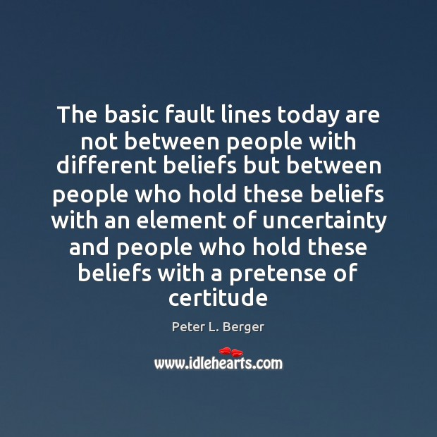 The basic fault lines today are not between people with different beliefs Image