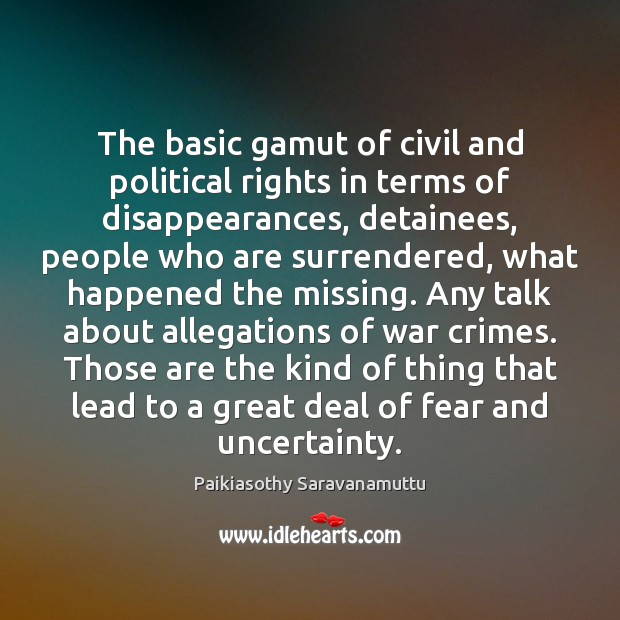 Image, The basic gamut of civil and political rights in terms of disappearances,