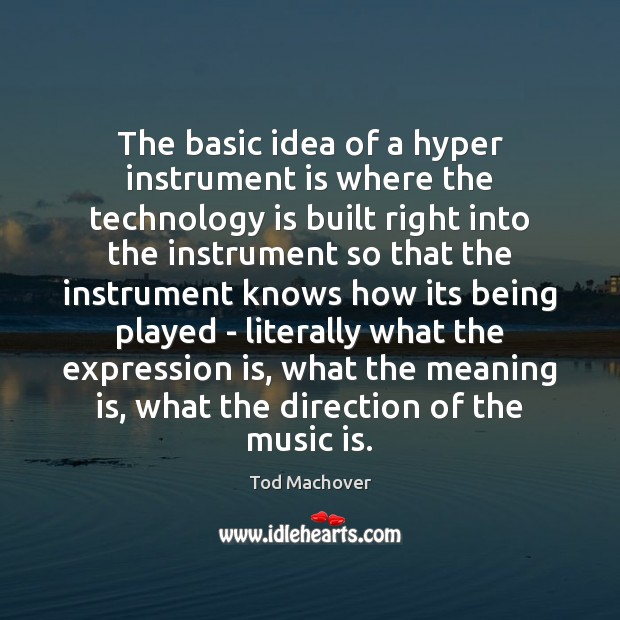 The basic idea of a hyper instrument is where the technology is Technology Quotes Image