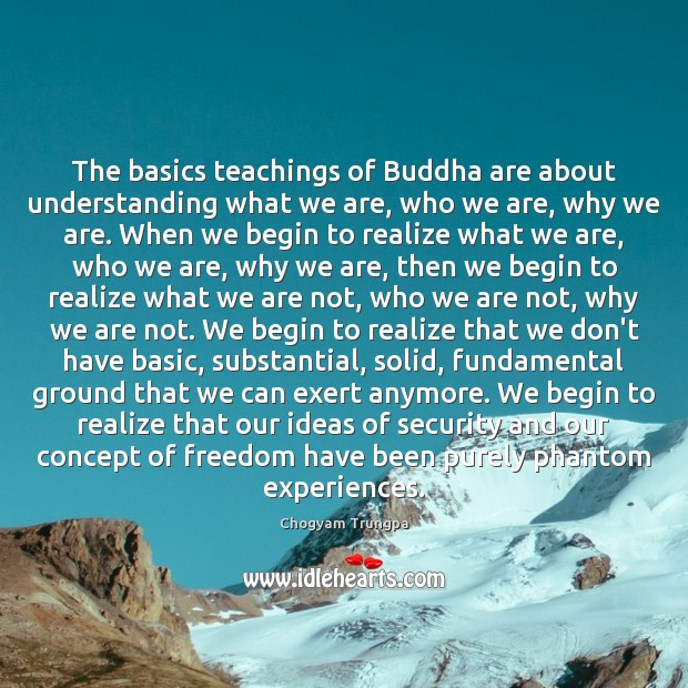 The basics teachings of Buddha are about understanding what we are, who Chogyam Trungpa Picture Quote